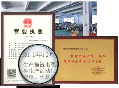 玖泰电缆荣誉证书